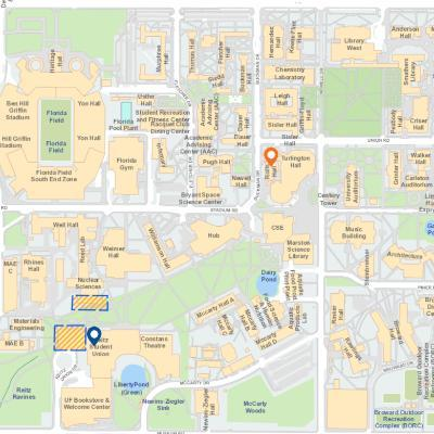 Rolfs Hall is located at 341 Buckman Drive, and parking can be found at the Reitz Student Union.